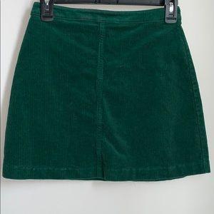 Emerald green corduroy mini skirt